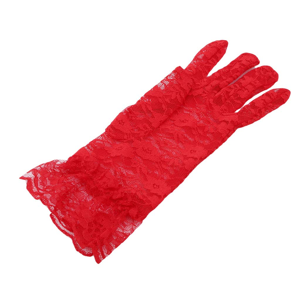 KISSFRIDAY Ladies Lace Gloves Elegant Short Gloves Courtesy Gloves for Wedding Dinner Parties Red