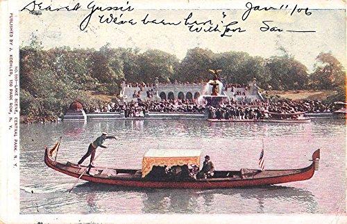 (Central Park New York Gondola River Boat Waterfront Antique Postcard K63382)
