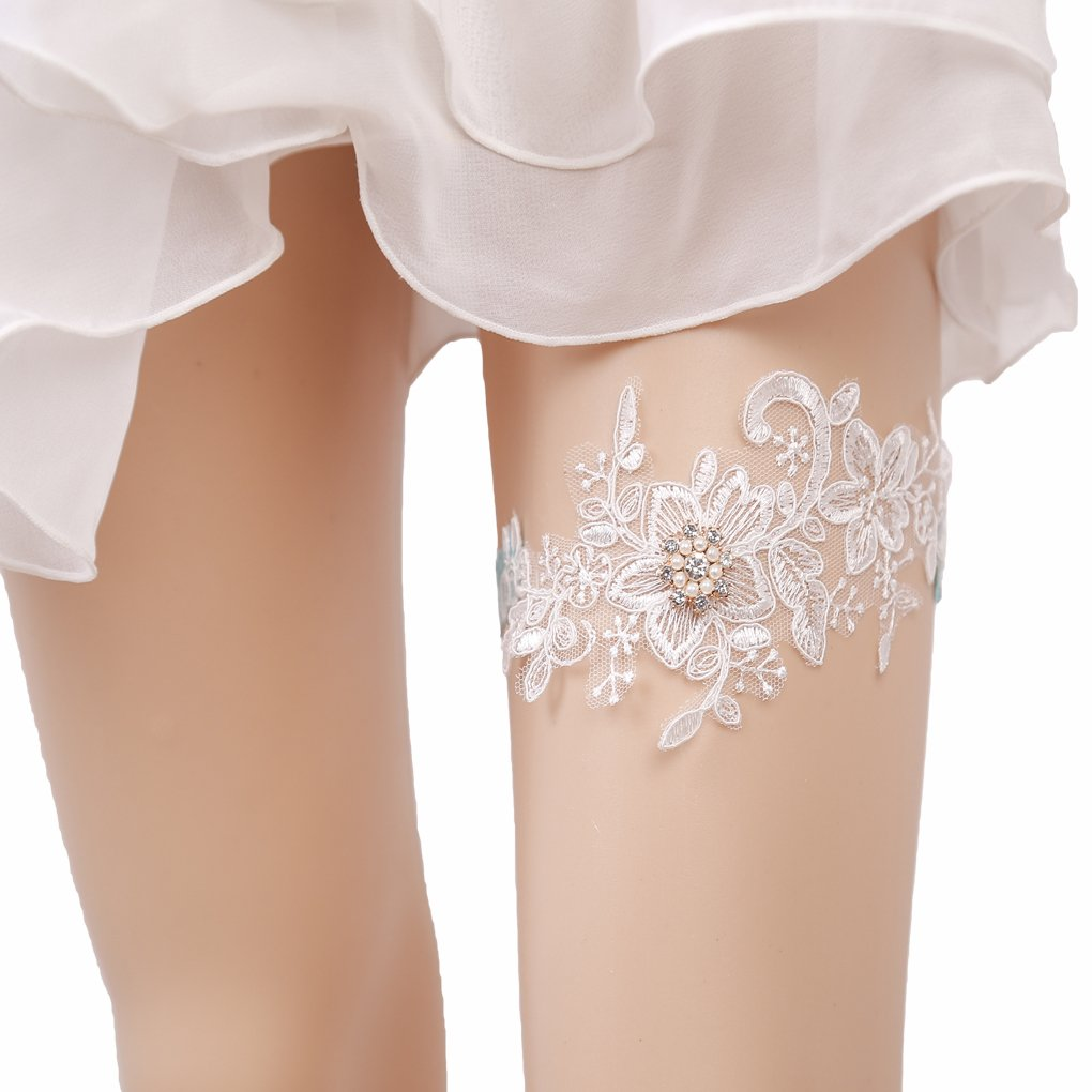 Bueer Wedding Bridal Bridesmaid Lace Garter Set Keepsake Toss Tradition Vintage (1-Pearls and Sequins)
