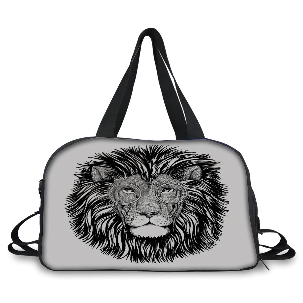 Trunk,Indie,Wild Hipster Lion with Glasses Wise Big Cat Clever Intelligent Animal Portrait Decorative,Black and White,Picture Print