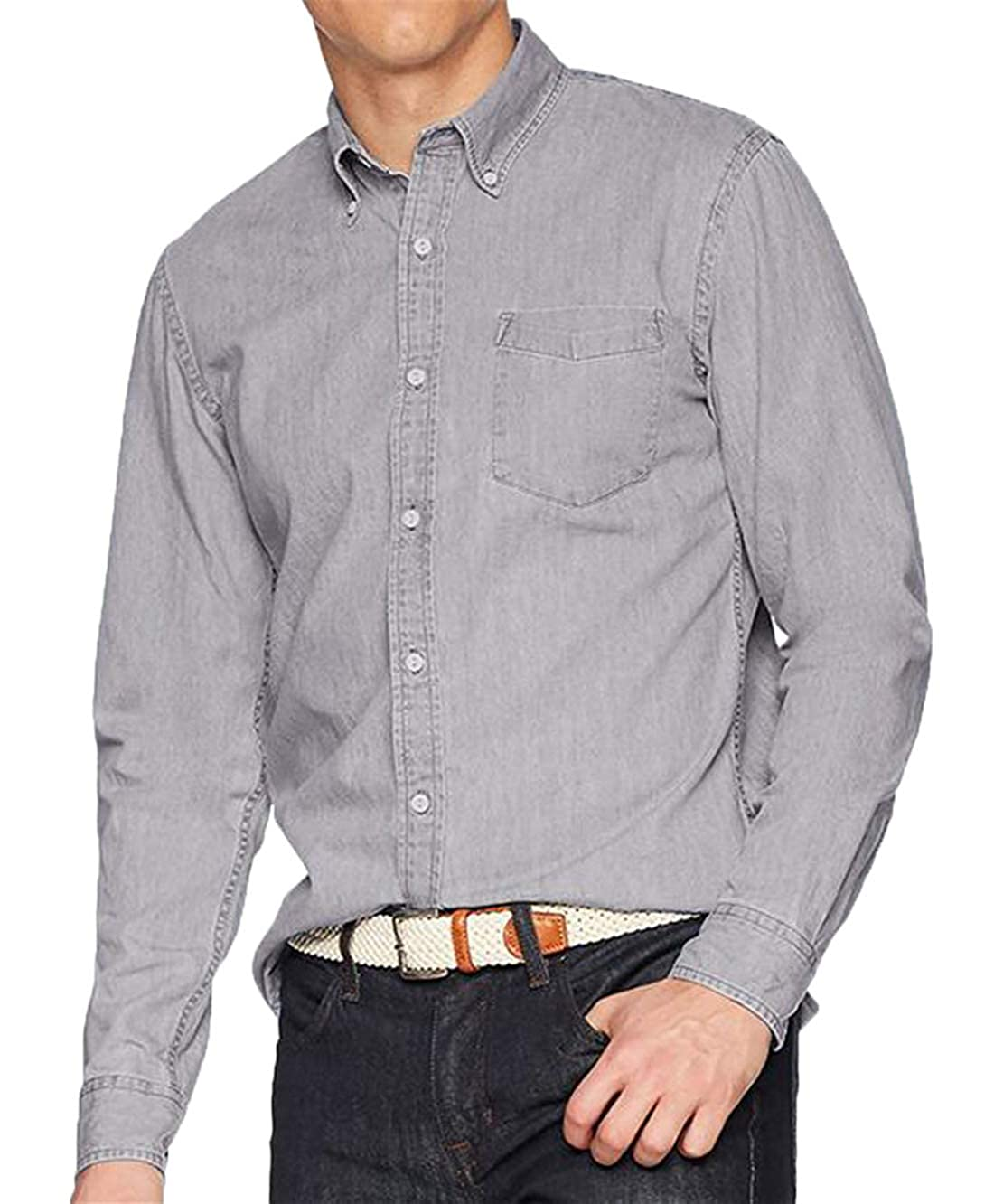 Twcx Mens Stylish Long Sleeve Denim Cotton Pocket Button Down Casual Shirt Workshirt