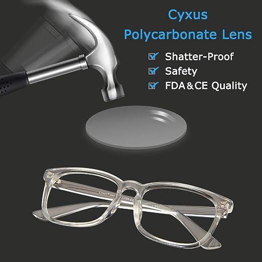 f0ff0ae7a80c Amazon.com: Cyxus Blue Light Filter Computer Glasses for Blocking UV  Headache [Anti Eye Eyestrain] Transparent Lens Gaming Glasses, Unisex  (Men/Women) ...