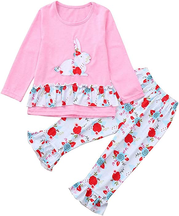 9b3afdfa2 1-6 Years Toddler Kids Baby Girls Long Sleeve Little Animals Top T Shirt+  Cute Floral Pants Clothes Home Wear Outfit Sets