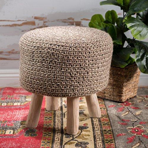 Christopher Knight Home 300262 Living Montague Linen Wool Ottoman Stool,