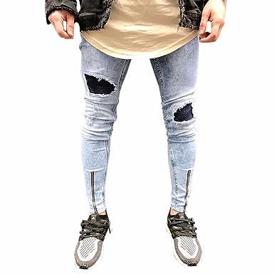 Celucke Herren Jeans Hose,Männer Jeanshosen Ripped Slim Fit Motorrad  Vintage Denim Hiphop Streetwear Hosen 6da500107c