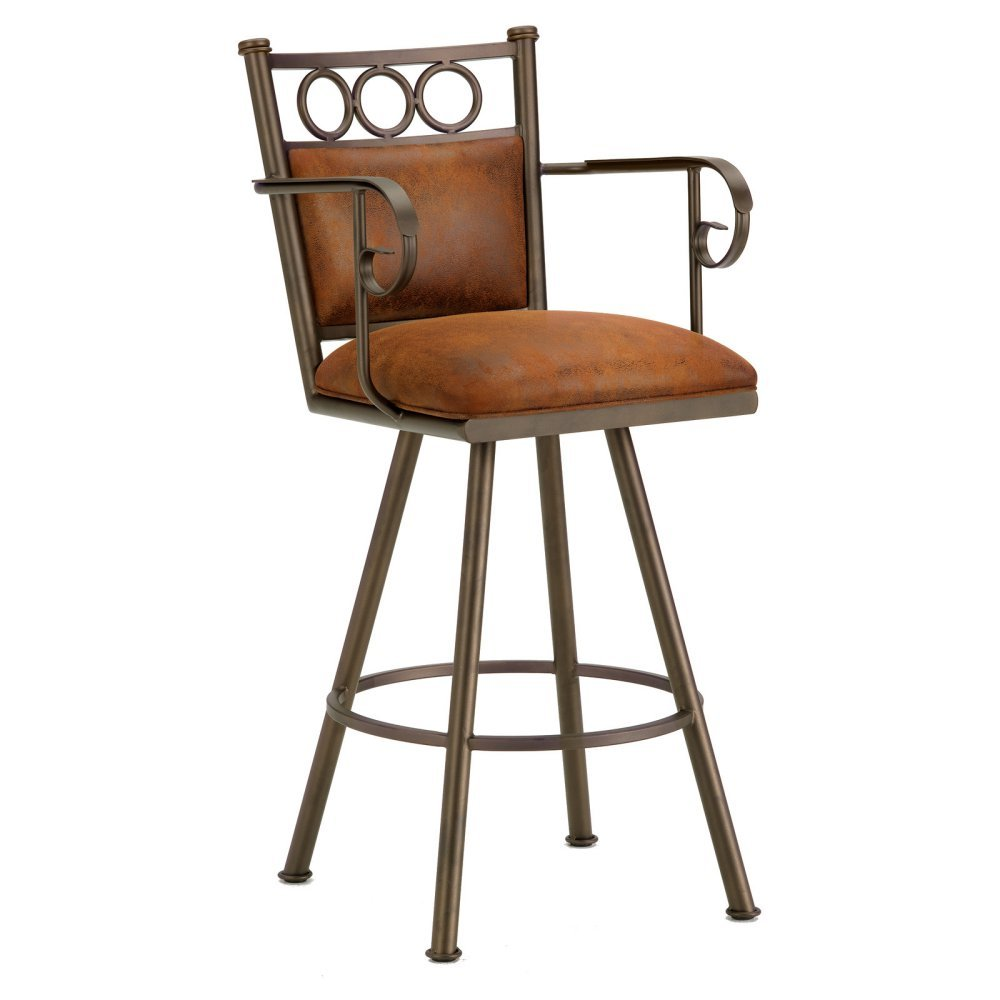 Iron Mountain Waterson Bar Stool with Arms, Inca/Bronze by Iron Mountain