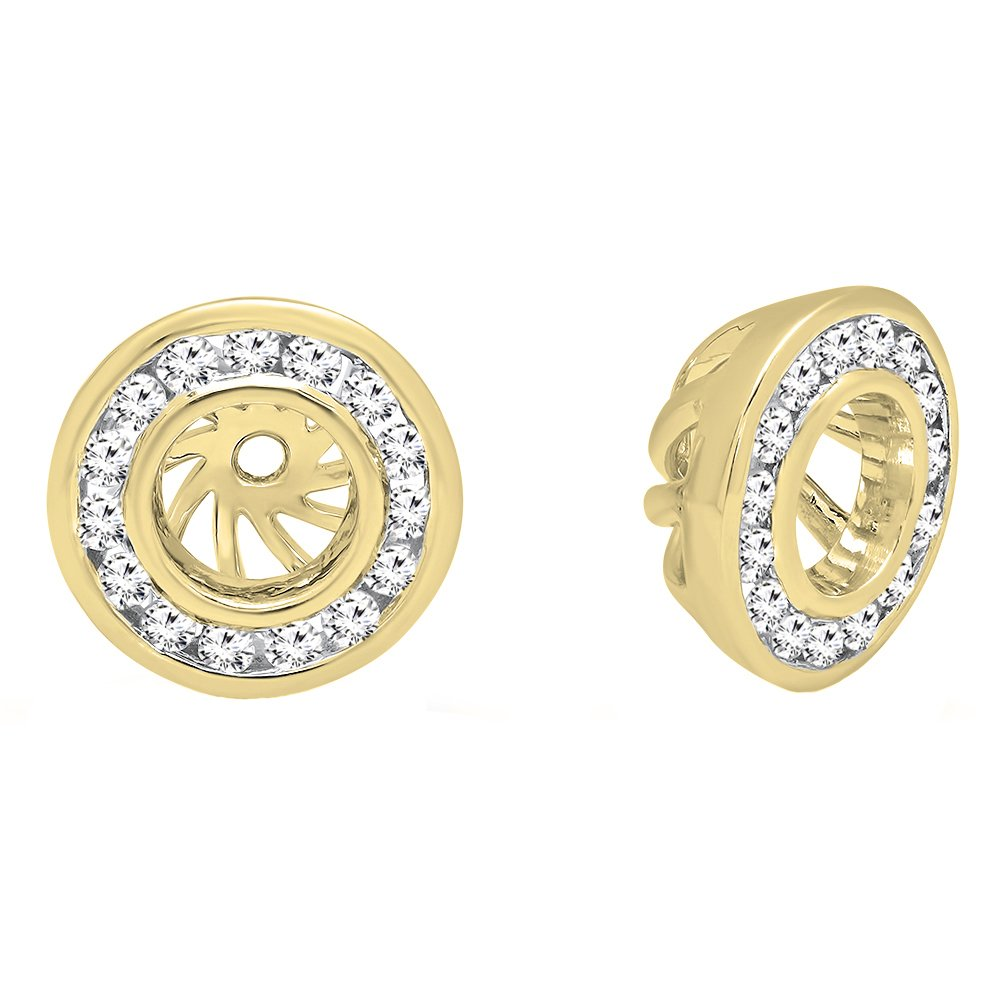 0.25 Carat (ctw) 14K Yellow Gold Round Cut Diamond Removable Jackets For Stud Earrings 1/4 CT
