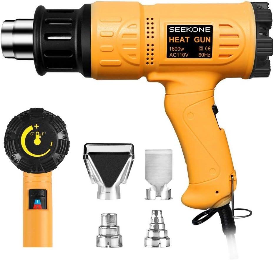 amazon com heat guns tools \u0026 home improvement Vent Fan Wiring Diagrams seekone heat gun 1800w heavy duty hot air gun kit variable temperature control with 2