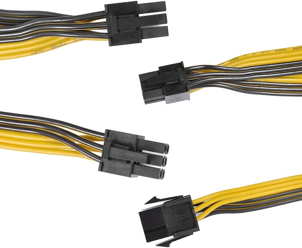 UCEC 6-Pin Female to Triple 6-Pin Male GPU Adapter Connector Extender Cable for Graphics Video Card 18AWG PCI-E 6Pin to 3X 6Pin Power Supply Cable 2 Pack Mining Rig