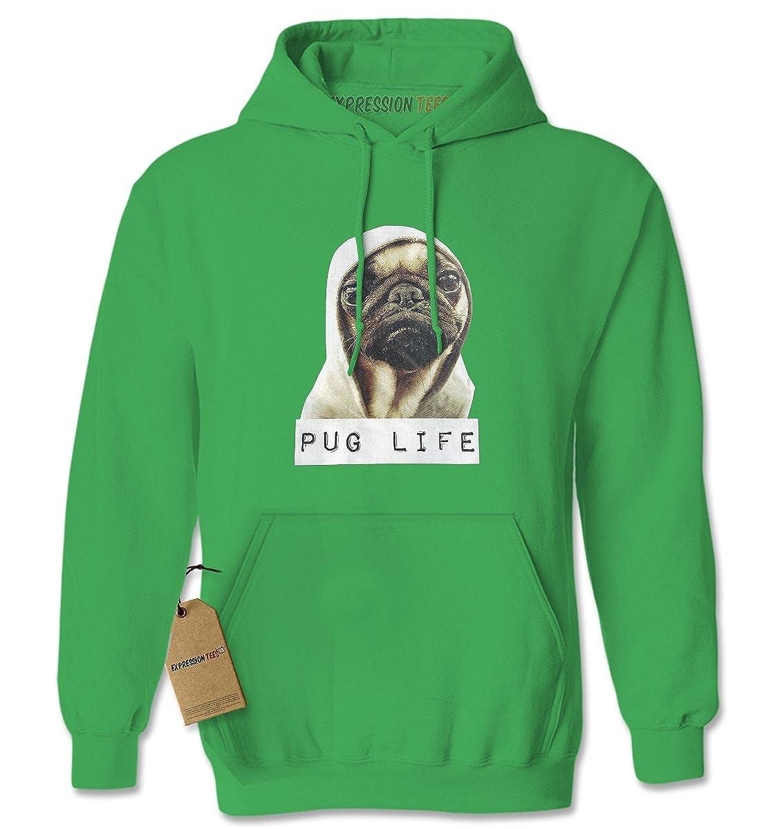 Expression Tees Pug Life Funny Thug Life Unisex Adult Hoodie 9000-H