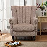 Harper Bright Designs Upholstered Accent Chair Stylish Club Chair Living Room Chair Armchair with Suede Fabric (Light brown)