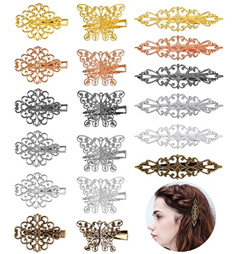 Jaciya Vintage Hair Clips 18 Pack Hairpins Hair Barrettes Butterfly Flower Shape Hair Clips Headwear for Women Girls, 18 Pieces