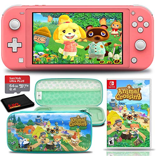 Nintendo Switch Lite (Coral/Pink) Console with Animal Crossing: New Horizons Game, Hard Shell Case, 64GB microSD Card, and 6Ave Cleaning Cloth - Ultimate Animal Crossing Bundle