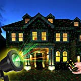 YUNLIGHTS Christmas Light Projector Red Green Star Show Light with Remote Control for Xmas Holiday Party Landscape Garden Decorations