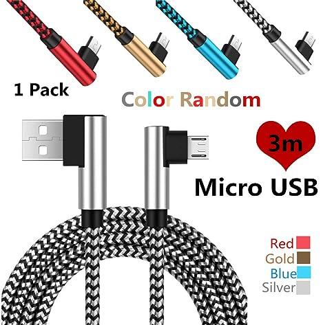 Interesting® Micro USB Trenzado L Doble Cable de 90 Grados ...