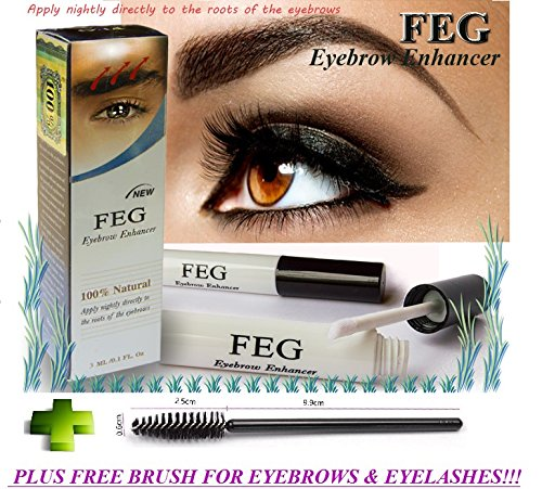FEG Eyebrow enhancer. The most powerful eyebrow growth Serum 100% Natural. Promote rapid growth of eyelashes. 100% Original with Anti-Fake sticker!!! + Eyelashs and eyebrow brush!!!