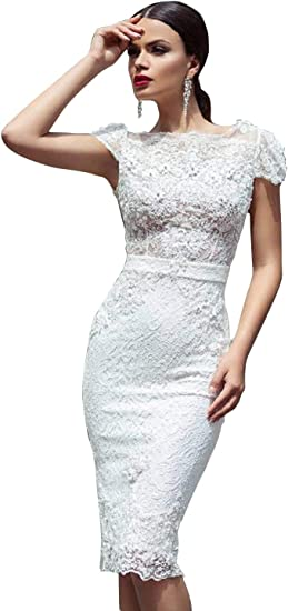 Adonis Pigou Lace Wedding Gowns Short White Cap Sleeves Open Back