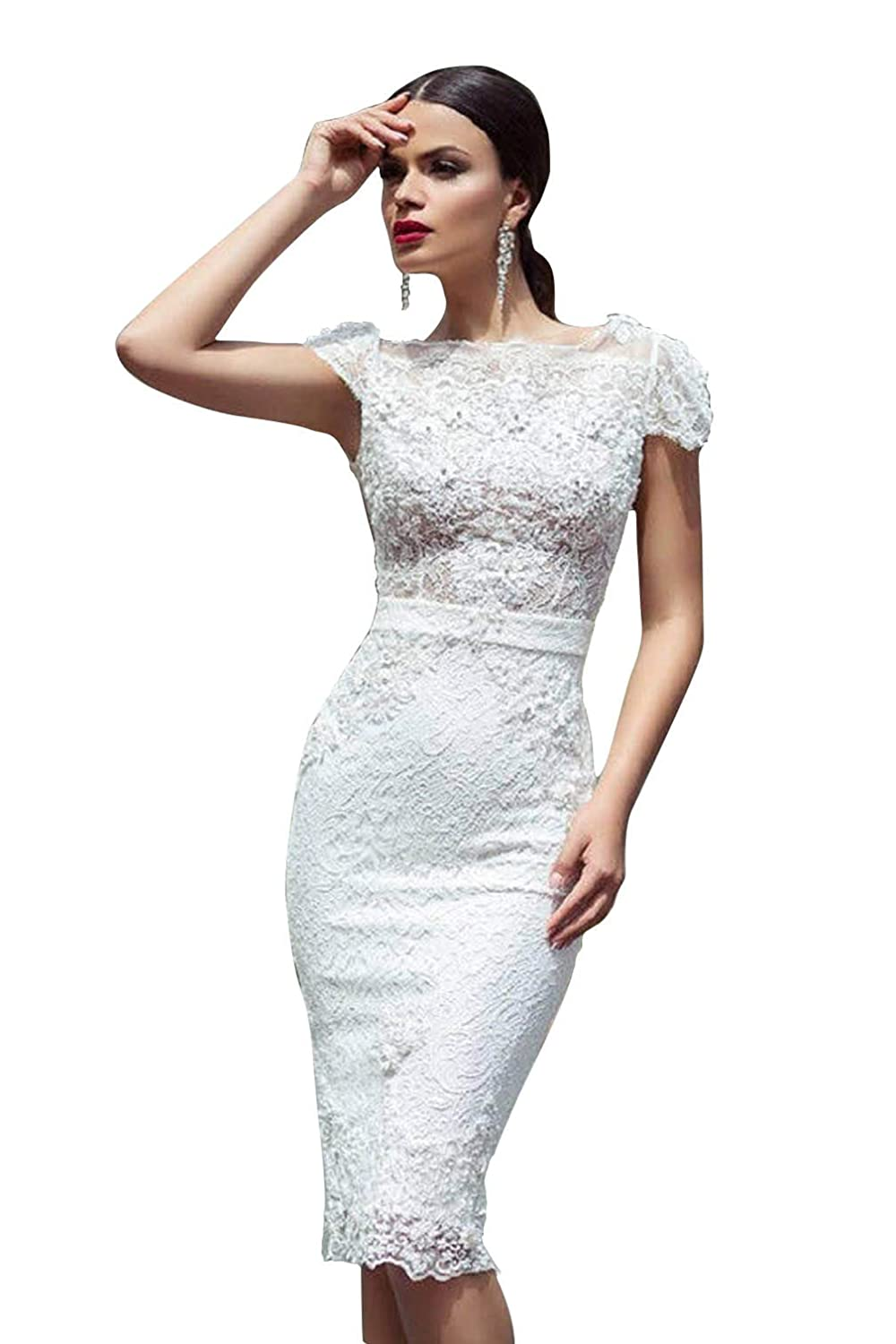 e5248e4b5c14 Short White Lace Dress With Cap Sleeves