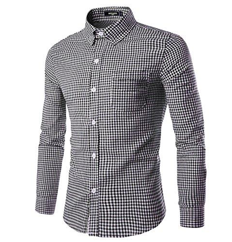 (NUTEXROL Men Plaid Cotton Casual Slim Fit Long Sleeve Button Down Dress Shirts Black Medium)