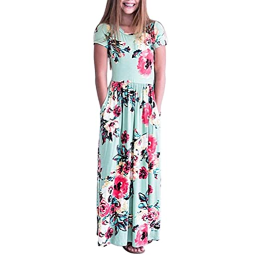 5f14a6c46cf843 Kids Baby Girls Long Dress For Party,Lelili Fashion Floral Printed Short  Sleeve Crewneck Floor