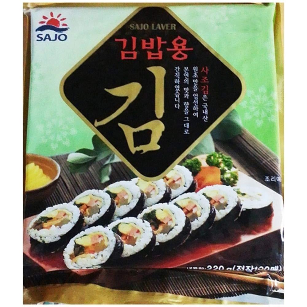 Sajo Roasted Seaweed Laver for Kimbap 100 count(220g)