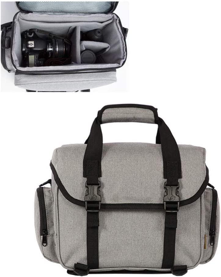 Wecnday-Home Electronic Organizers SLR Camera Bag Shoulder Multi-Function Waterproof Large-Capacity Digital Anti-Theft Bag Digital Storage Bag Travel Electronics Accessories Color : Gray