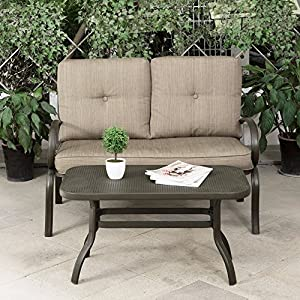 Cloud Mountain Patio Loveseat Outdoor 2 PCs Loveseat Furniture Set Garden  Patio Love Seat Bench Sofa With Cushions, Gradient Brown