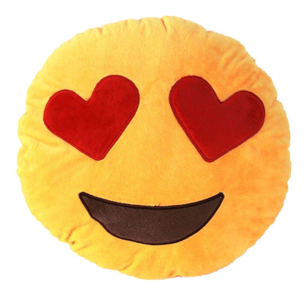 Bigood(TM) 32cm Emoji Smiley Emoticon Round Cushion Pillow Soft Toy Heart-Eye