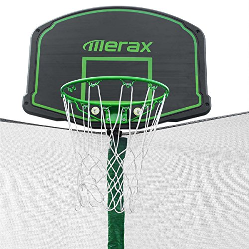 Merax SW000011FAA 12' Round Trampoline Safety Enclosure, Basketball Hoop & Ladder