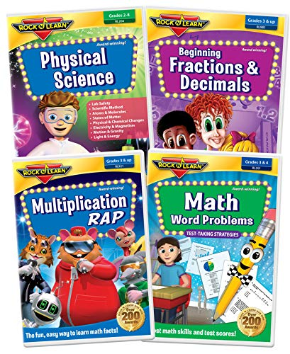 3rd Grade DVD Collection - Multiplication Rap, Math Word Problems, Physical Science and Beginning Fractions & Decimals (Math Word Problems Dvd)