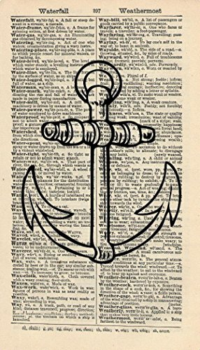 ANCHOR-ART-PRINT-BATHROOM-ART-PRINT-ARTWORK-NAUTICAL-ART-PRINT-MARITIME-ART-PRINT-NAVY-ART-PRINT-VINTAGE-Art-Illustration-Vintage-Dictionary-Art-Print-Wall-Hanging-Book-Print-207B