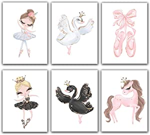 Ballet Princess Nursery Nordic Poster Unicorn Room Décor Canvas Painting Black Swan Ballet Shoes Wall Pictures for Children Kid's Girl Wall Art (Set of 6) - Unframed - 8x10s
