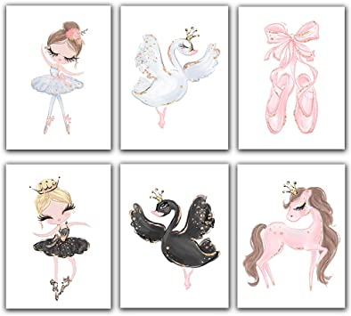 Beautiful White Swan Ballet Pink Dancing Girl Print Kids Room Wall Art Picture