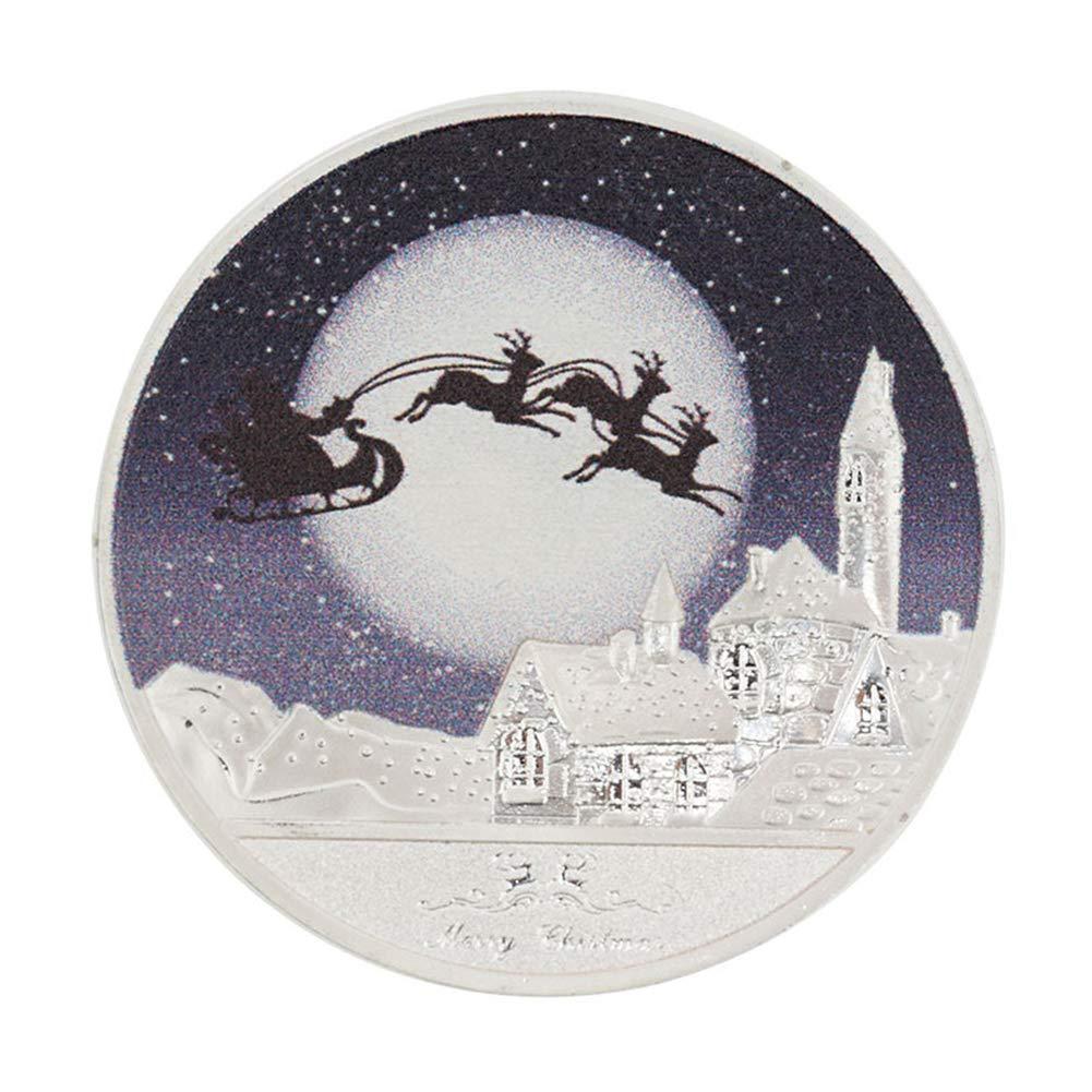Golden CoURTerzsl Moneda Conmemorativa de Navidad con dise/ño de Pap/á Noel y Recuerdo de Nieve