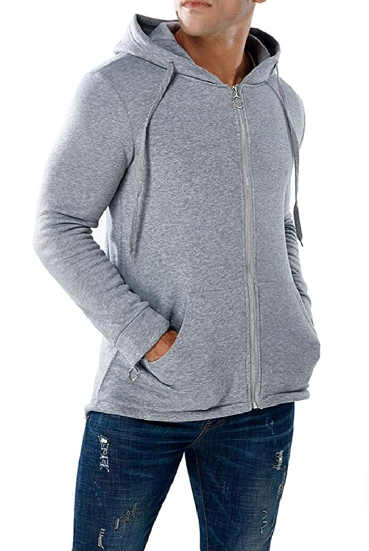 xiaohuoban Mens Fashion Zipper up Long Sleeve Back Split Hoodies Sweatshirts