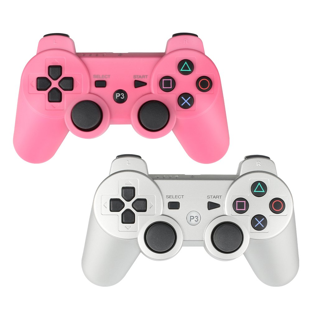 YOUCable PS3 Controller Wireless Playstation 3 Remote Dualshock Bluetooth Gamepad (Pink+Sliver)