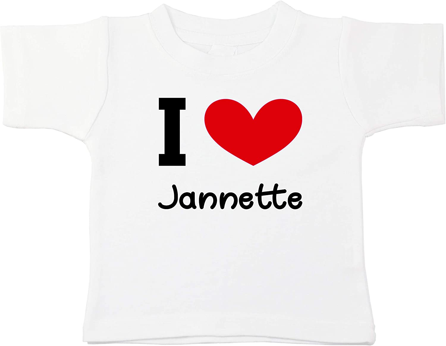 Kinacle I Love Jannette Personalized Baby//Toddler T-Shirt