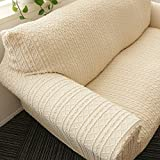 Thickened sofa cover full cover,Non-slip Stretch couch covers Elastic fabric Pure color Sofa protector For 1 seater Easy fit-A love seats