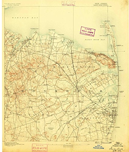 Sandy Hook NJ topo map, 1:62500 scale, 15 X 15 Minute, Historical, 1888, 19.7 x 16.7 IN - - West At Village Legends