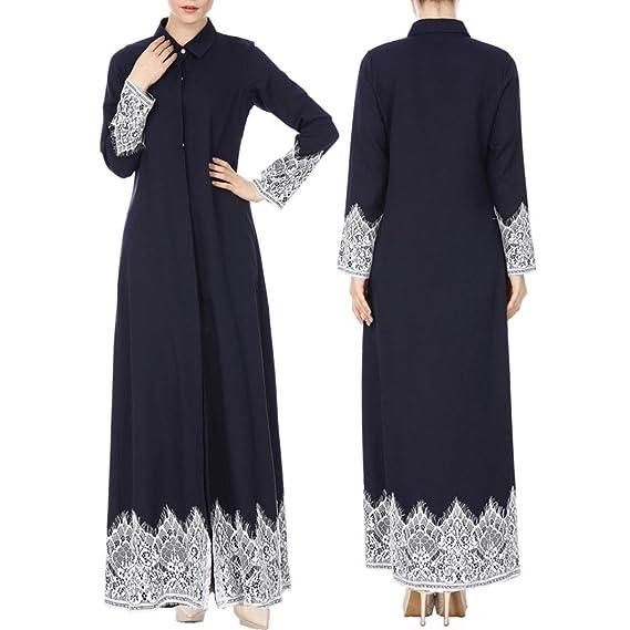 OHQ Robe De Cardigan Musulman à Manches Longues Rose Femmes Kimono Front  Ouvert Dentelle Jilbab Cuir 3a3812c428e2