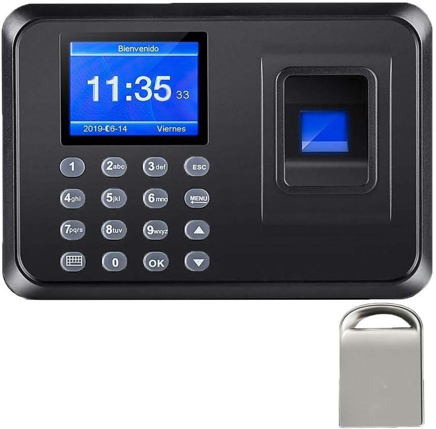 Maquina Asistencia de Fichar Huella Dactilar,con 8G Disco U,100.000 Registros, Sistema Española, Biometrico Huella,2.4 Pulgadas (4)