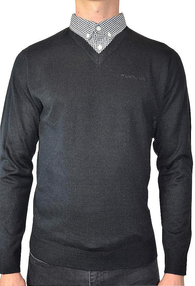 TALLA S. Pierre Cardin Jersei para Hombre de Punto con Cuello en V y Cuello de Camisa Falsa