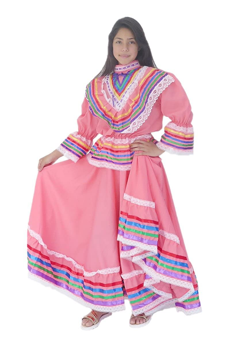 Mexican Clothing Co Girls Mexican Jalisco Dress (Blouse Skirt) Poplin MXCCOP0350