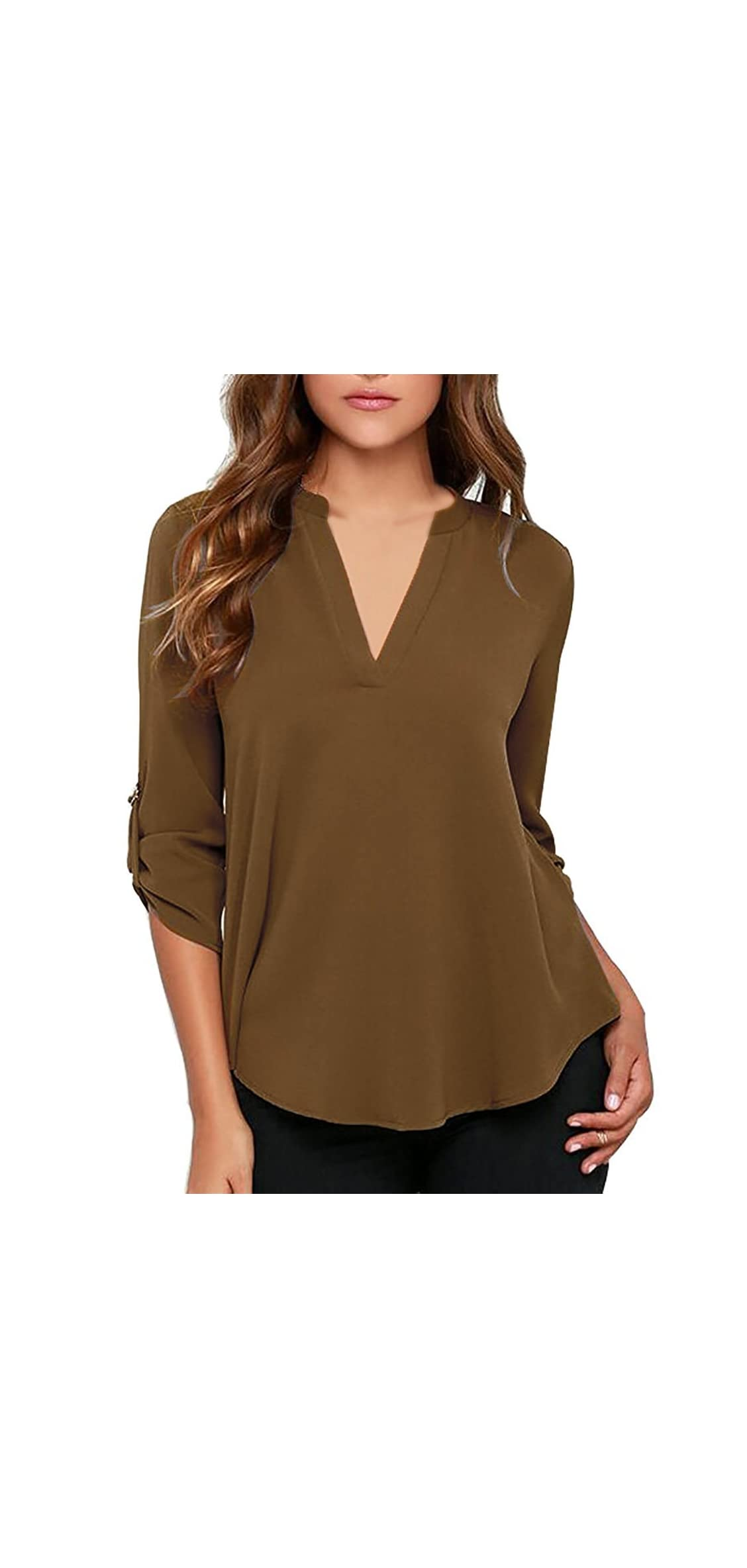 Women's Casual V Neck Cuffed Sleeves Solid Chiffon Top