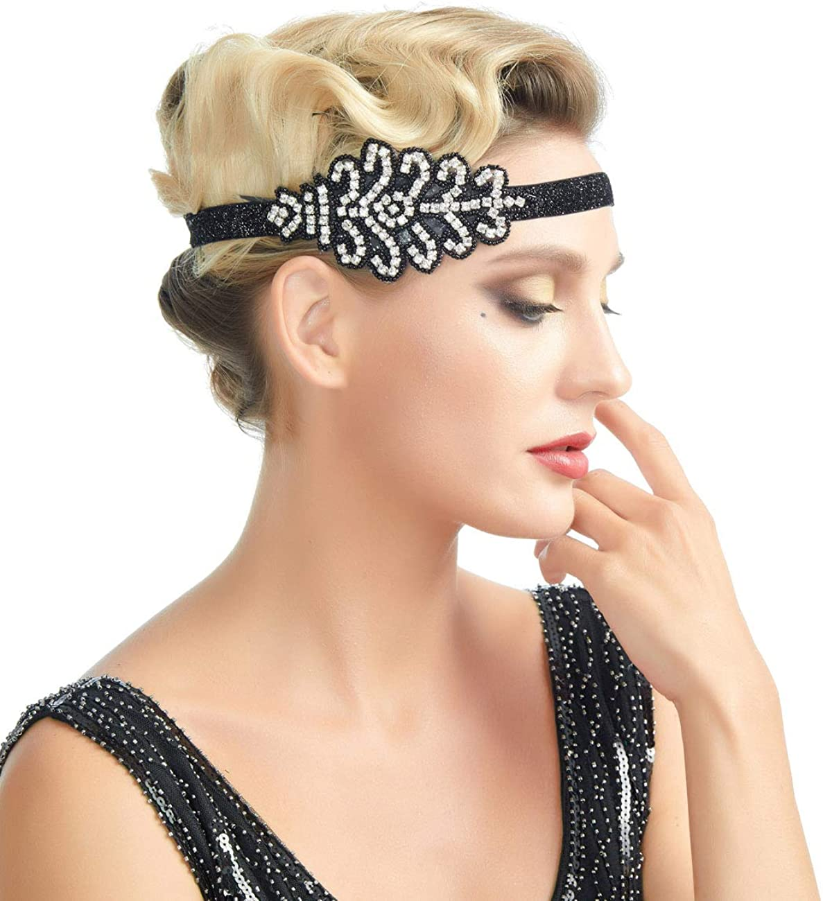 Ladies Flapper Headband Black with Feather
