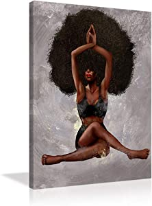 Yoga Women Wall Decor African American Women Wall Art Black Curly Hair Girl Painting on Canvas Print Wall Picture Decor Painting wall pictures for living room Print Painting Framed Ready to Hang