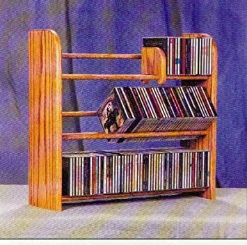 Wood Dowel CD Rack Natural 21-3 4 H x 24-1 4 W x 7-1 4 D
