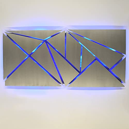 "LED Lighted Geometric Silver Metal Wall Art ""Fracture"" Sculpture Color Changing Light"