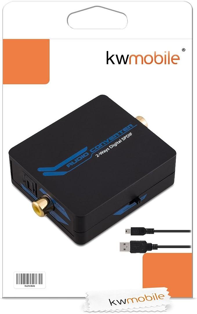trasformatore bidirezionale audio SPDIF da toslink ottico a digitale coassiale con cavo mini USB kwmobile convertitore digitale coassiale toslink