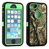 Apple iPhone SE/5G/5S Defender Case, iPhone 5 Heavy Duty Military Armor Hunting Camouflage Shockproof High Impact Resistant Hybrid Dual Layer Case Cover for Apple iPhone SE 5G 5S 5 (Green)